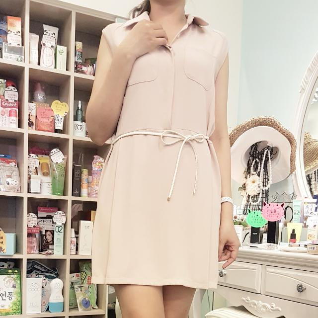 全新韓°連身顯瘦無袖粉色褲裙