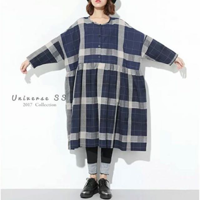 日本定番版型深藍疊格洋裝