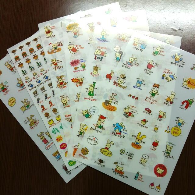 韓文 兔兔 透明貼紙