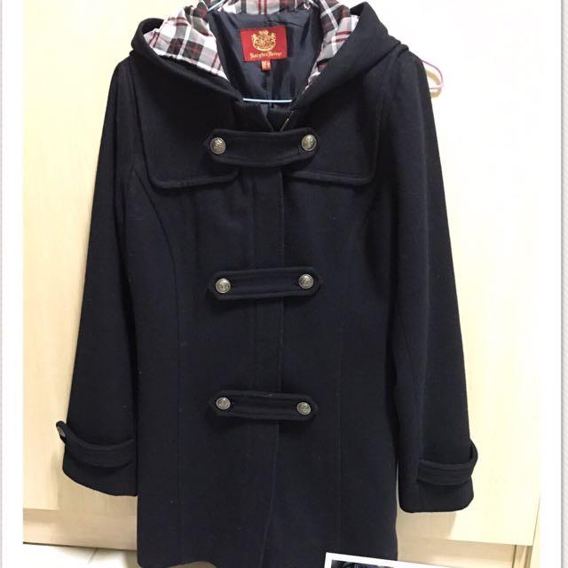 深藍羊毛大衣
