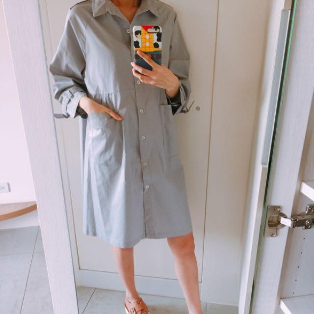 韓貨 灰色襯衫洋裝