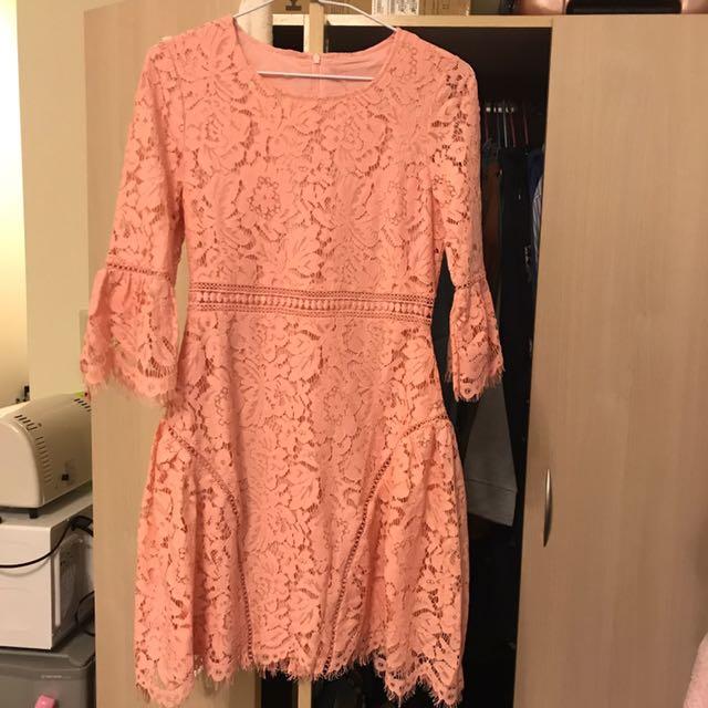 正韓 粉紅蕾絲洋裝 婚禮洋裝