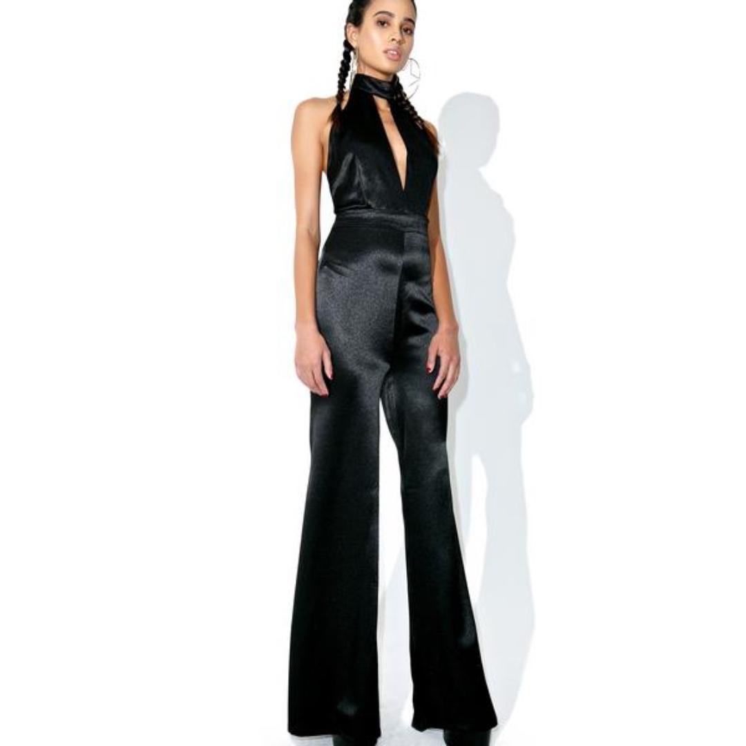 96786091832 💋 Black Satin Halter Choker Jumpsuit Size Small