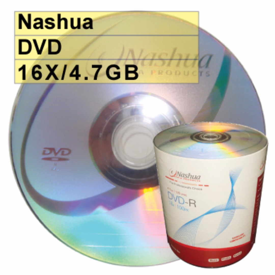 【臺灣錸德製造】A級外銷品牌 Nashua DVD-R 16X 4.7G 空白光碟片燒錄片100片(補咖最愛)