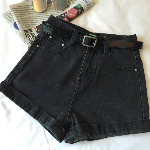 AA Inspired High Waist Denim Shorts (Black)