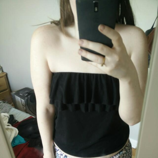 AE Strapless Ruffle Tank Top: Size S