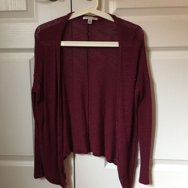 American Eagle Burgundy Knit Cardigan