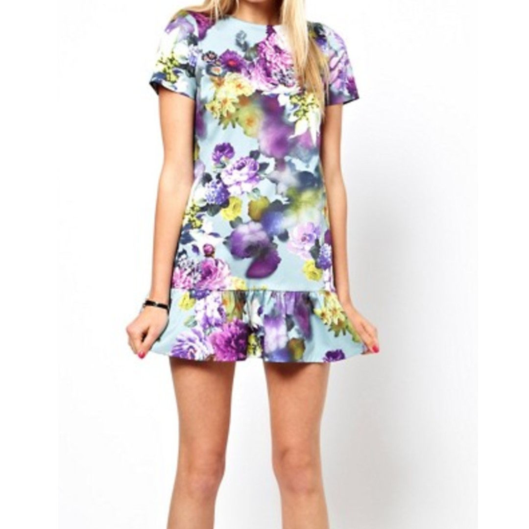 ASOS PETITE Exclusive Floral Mini Dress With Drop Waist