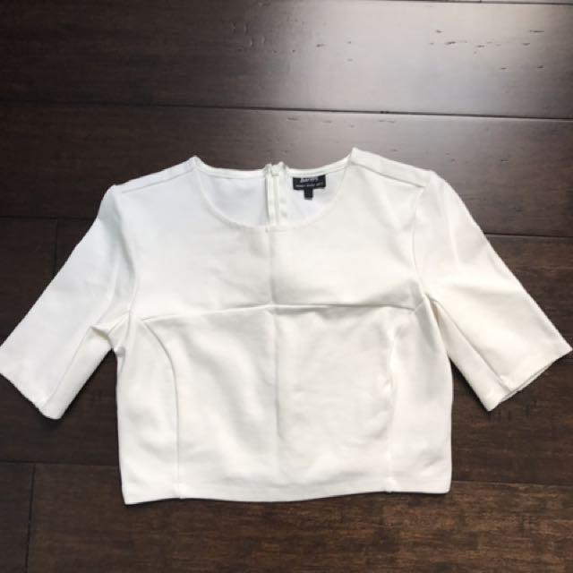 Bardot Crop White Size 6