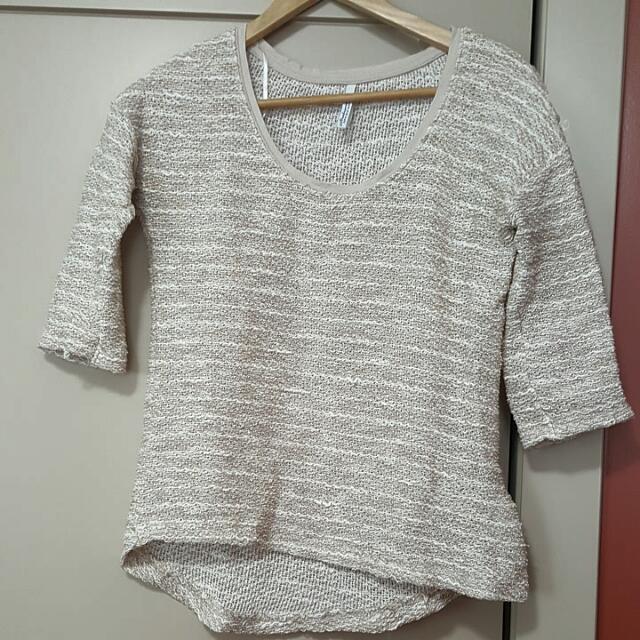 Beige 1/4 Sleeve Shirt