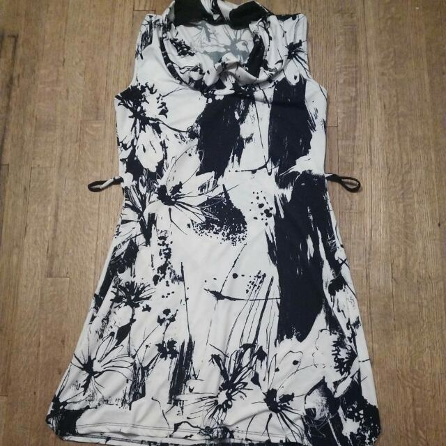 Black And White Floral Paint Dress