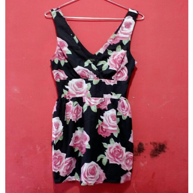 Black Mini Flowery Dress