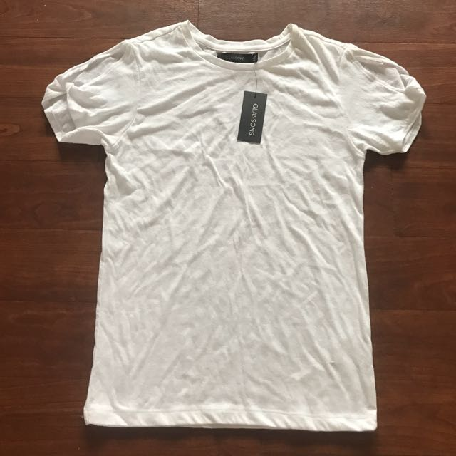 Brand New Glassons White Twist Sleeve Tee Top Size XS