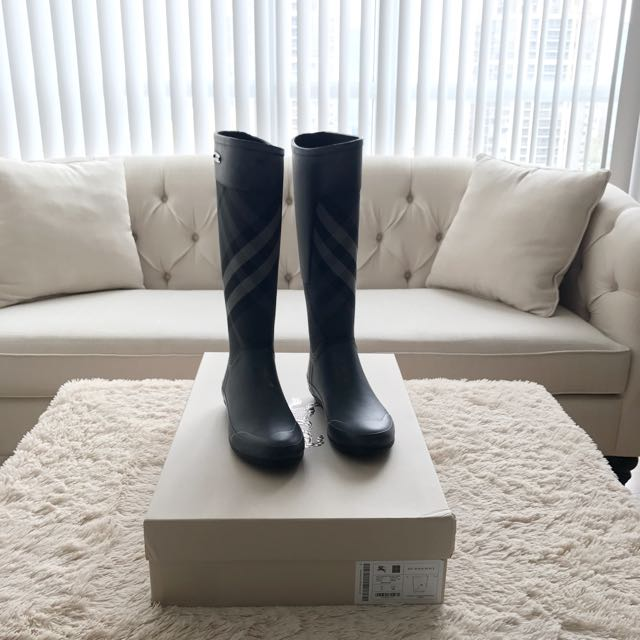 Burberry Rain Boots - Dark Grey Size 5
