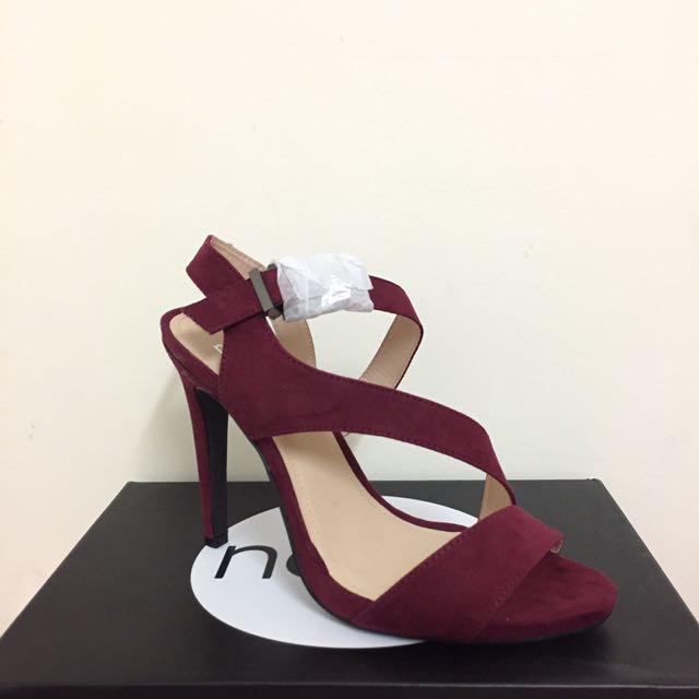 Burgundy Suede Strappy Heels