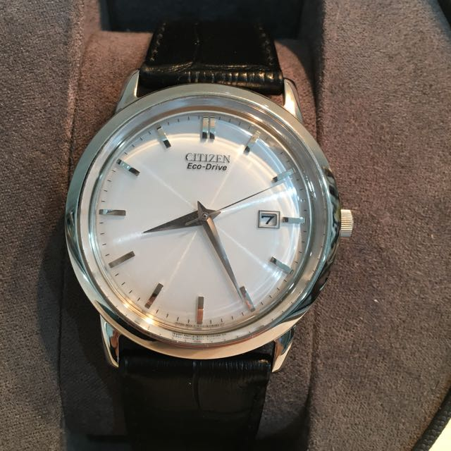 Citizen Eco-Drive Dress Watch With Black Leather Strap