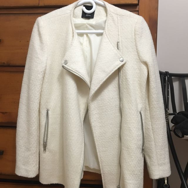 Cream Boucle Moto Jacket