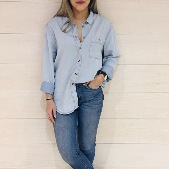denim-like button up: M for Mendocino