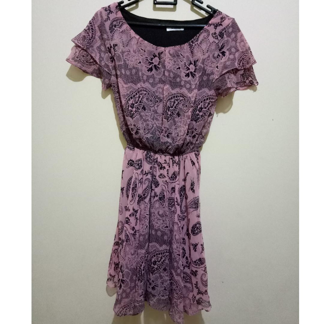 Dress Pink Bunga