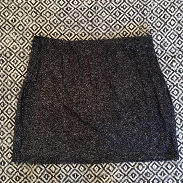 Elsie Glitter Foil Mini Skirt Black