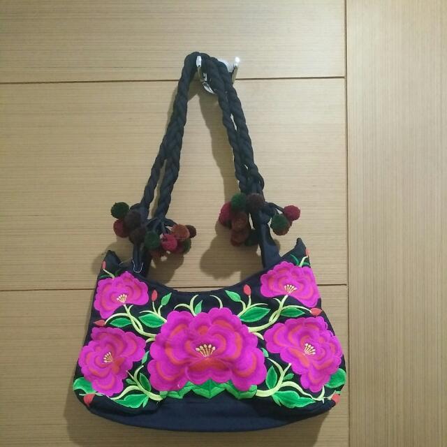 Flowery Black Bag