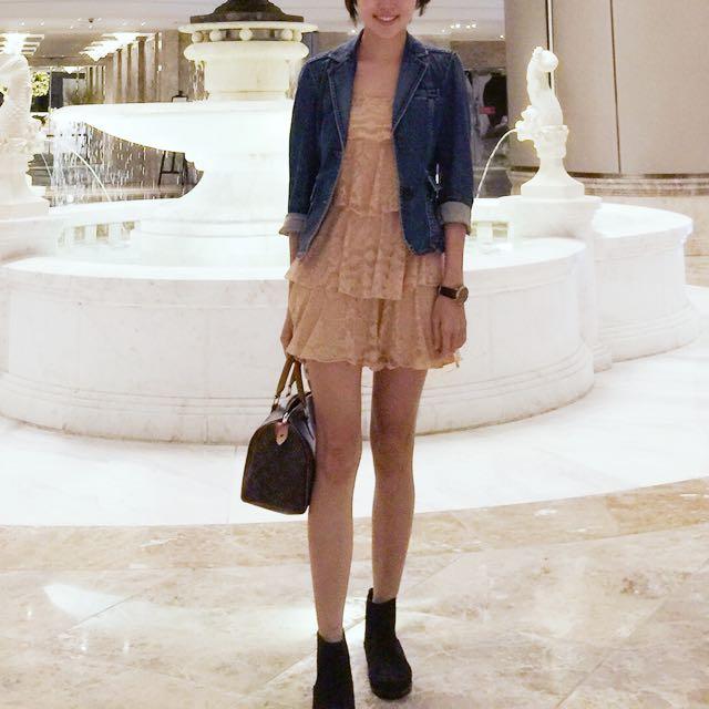 裸粉氣質洋裝/Gap牛仔外套