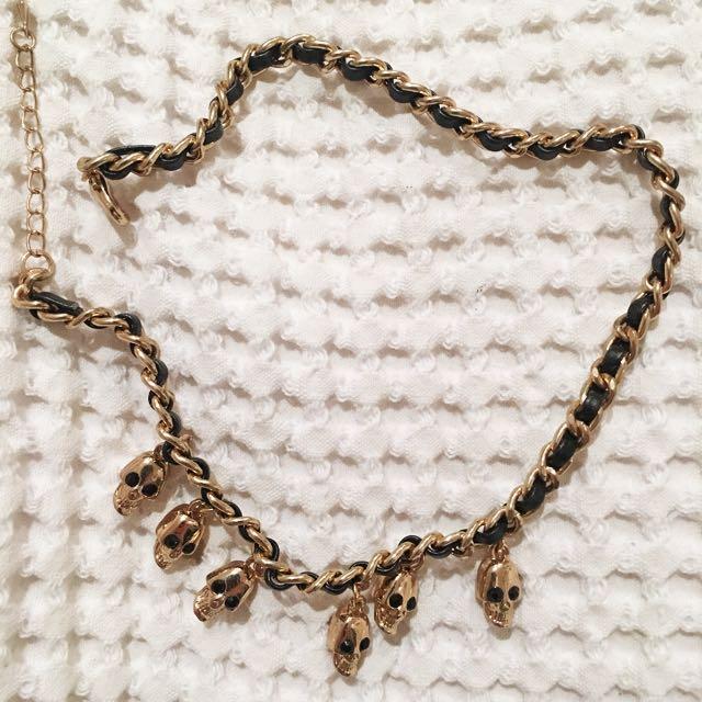 Gold/leather Skull Bracelet