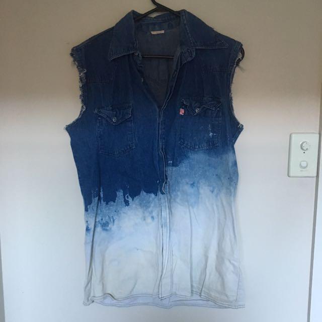 Hand Bleached Denim Shirt/dress
