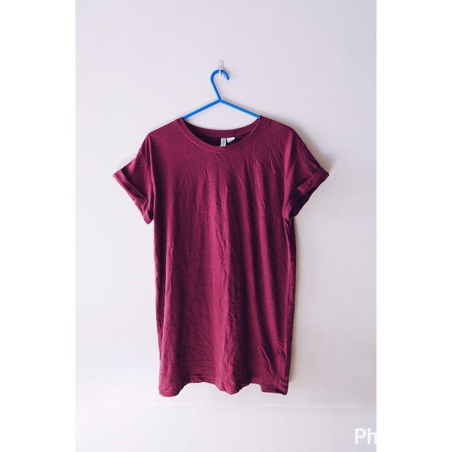 H&M Maroon Tshirt Dress