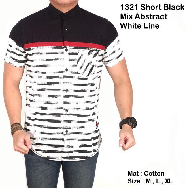 kemeja abstrak hitam garis garis / baju cowok hitam mix salur slimfit
