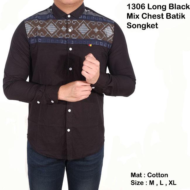 kemeja lengan panjang hitam polos mix tribal batik / kemeja casual