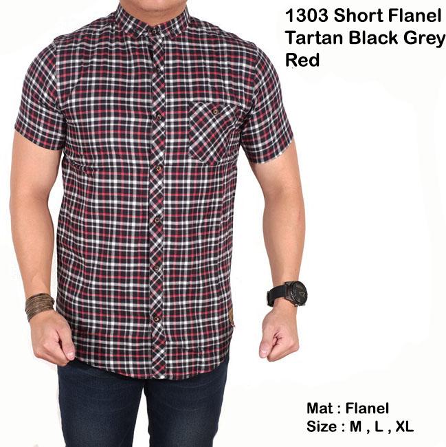 kemeja lengan pendek flanel tartan black grey red / baju kotak pria