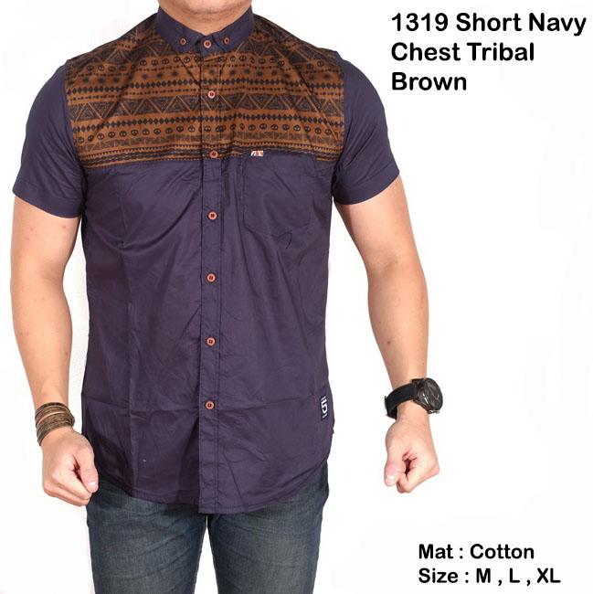 kemeja pria pendek navy polos mix batik tribal slimfit / baju tribal