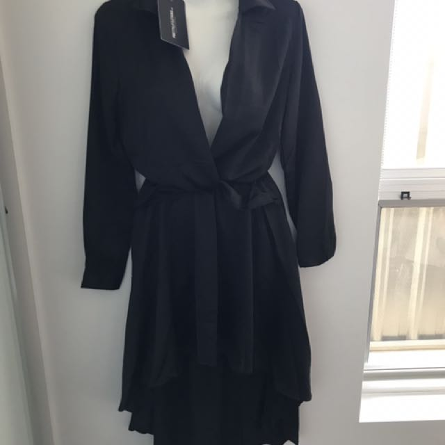 Ladies Black Satin Dress Size 6