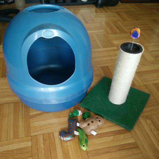 Litter Box, Scratching Post & Toys