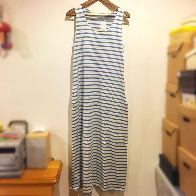  全新 LOWRYS FARM 水藍橫條水手風長裙