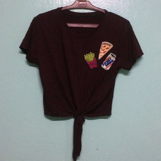 Maroon Tie Down Crop Top With Patches