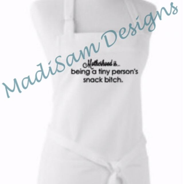 """Motherhood"" Apron White"
