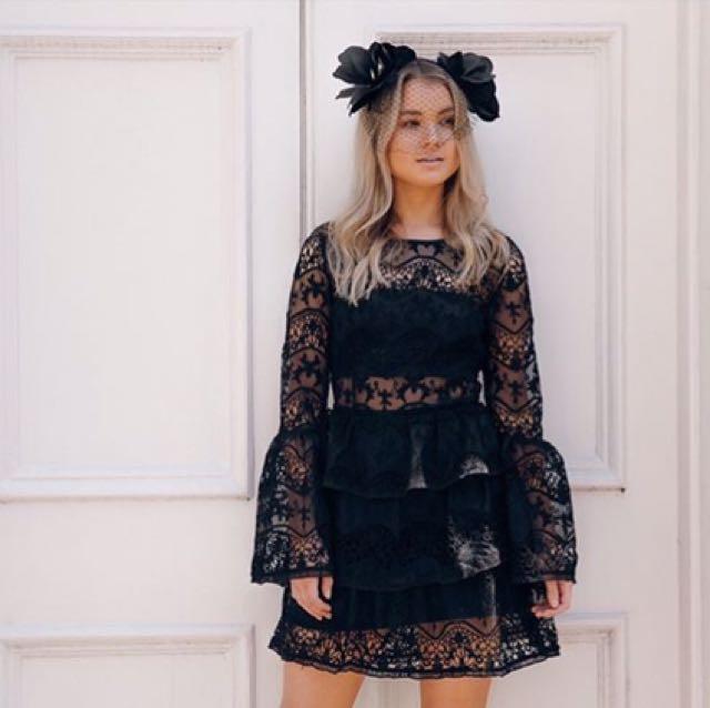 Olena Tiered Dress - Black
