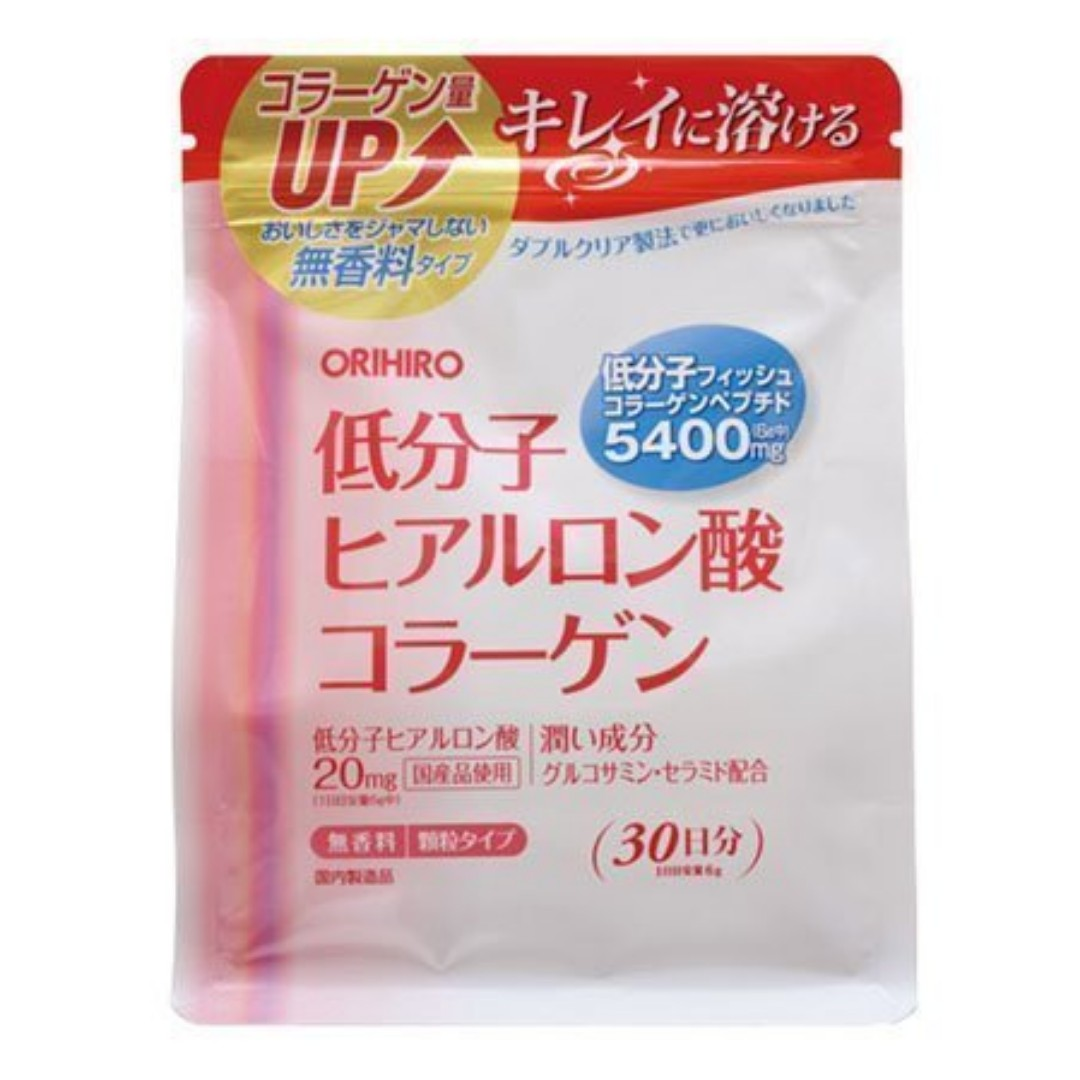 Oo 跟著小豬環遊世界購物趣 oO 日本連線-ORIHIRO 低分子 玻尿酸 膠原蛋白粉 30日份 補充包 無香料