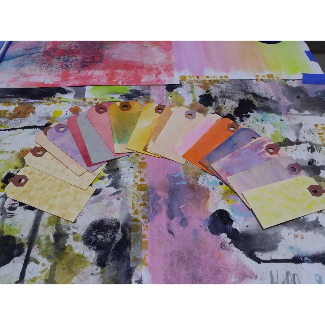 Painted shipping tags - assorted size, colours and patterns
