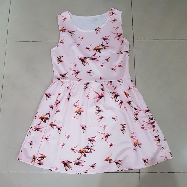 Pink Bird Pattern Dress