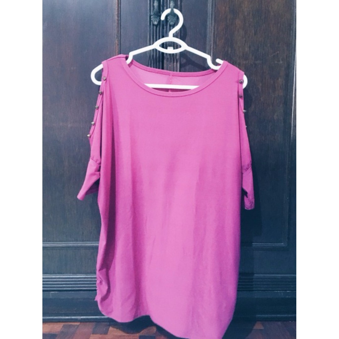 Pink Shoulder Baring Top With Studs Size L-XL Php 350