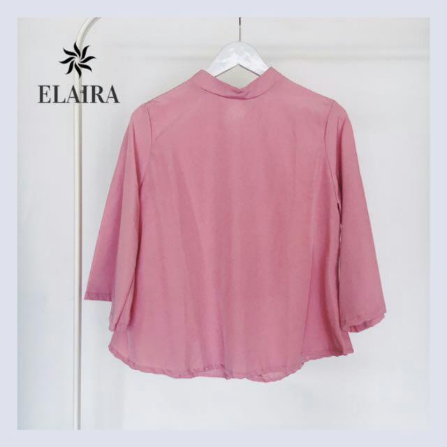 Pink Turtleneck Blouse