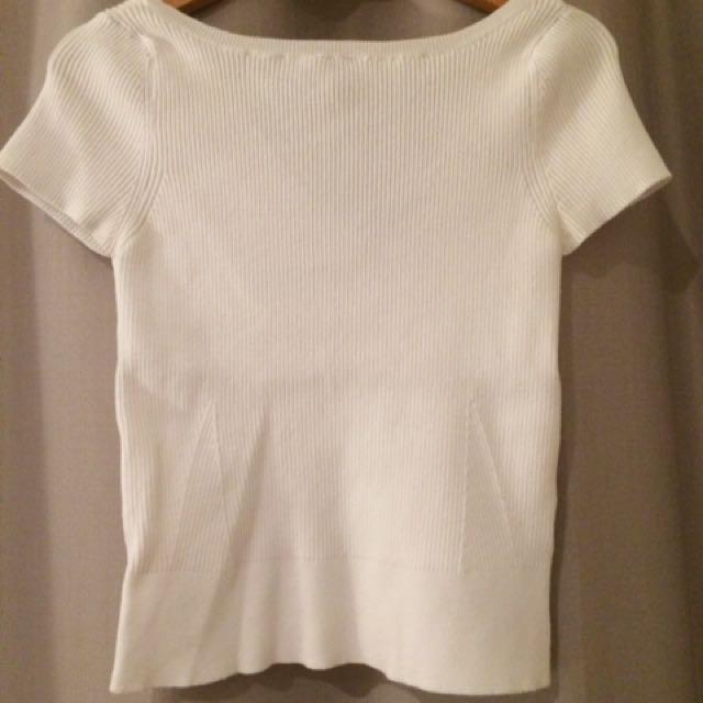 Portmans White Ribbed Sweater (S)