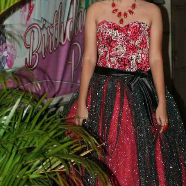 SALE ALERT!!! Red And Black Sheer Gown with Shoes And Accessories (repriced from 2500php to 900php)