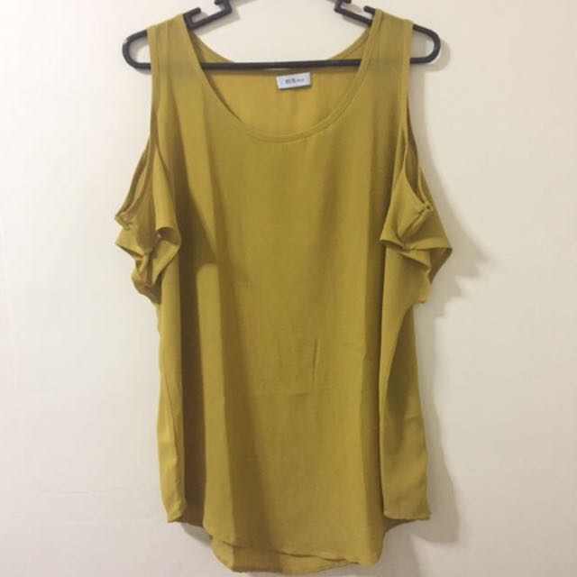 REPRICED! Rue 202 | Mustard Off Shoulder Top With Sleeves