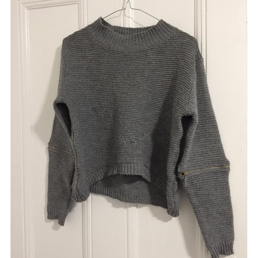 Reverse grey jumper - size s