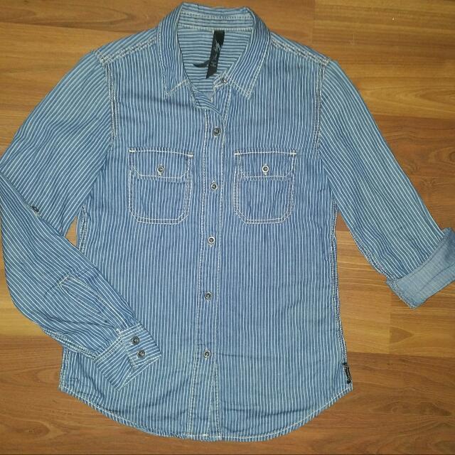 Seven7 Denim (Railroad) Striped Button Shirt