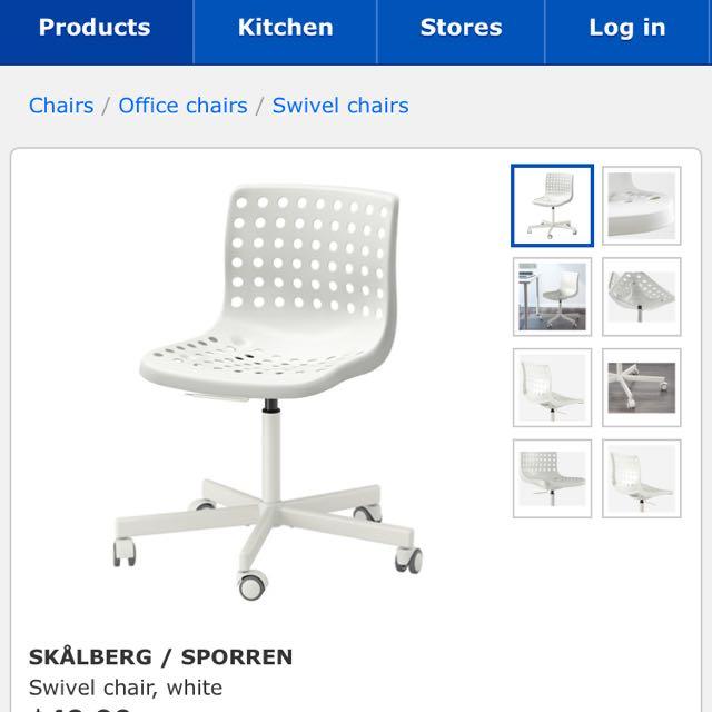 Amazing Skalberg Sporren Swivel Chair White Furniture Tables Short Links Chair Design For Home Short Linksinfo
